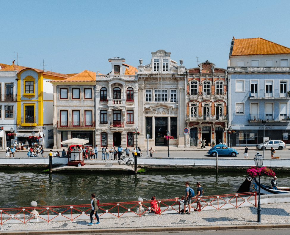 Street Bisected By River in Portugal